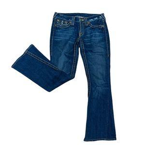 True Religion Women's Dark Wash Flare Jeans Size 28
